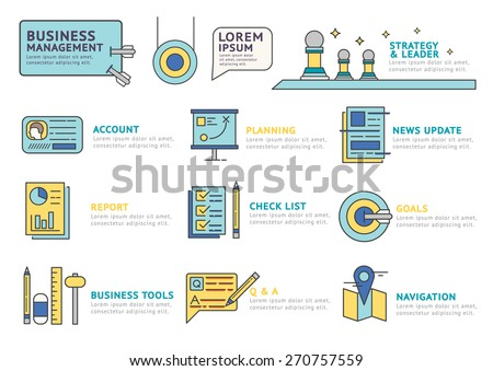 Set of Flat line icon & infographic design concept Business Management , Account , Business Tool ,Goals , Planning , Report , Strategy & Leader / Infographic Element / icon / Symbol , Vector Design - stock vector