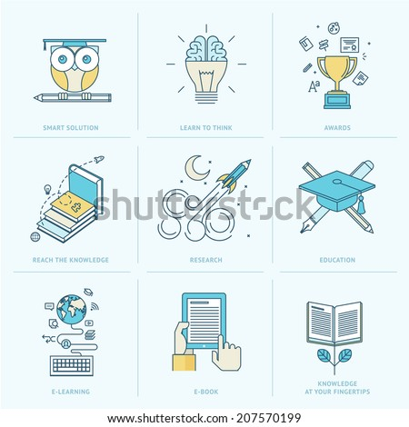 Set of flat line icons for education. Icons for online learning, online book, education solutions, research, knowledge. - stock vector