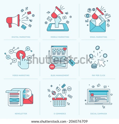 Set of flat line icons for marketing. Icons for digital marketing, mobile marketing, email marketing, video marketing, internet marketing, blog management, pay per click, e-commerce, social media. - stock vector