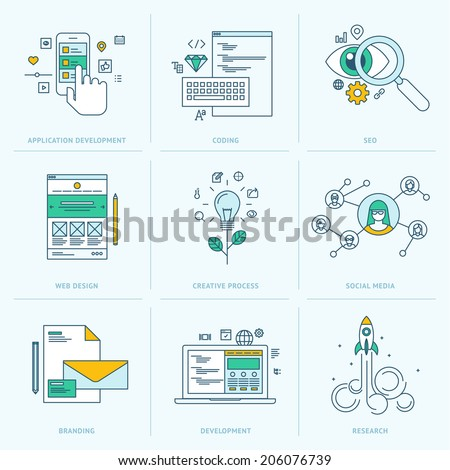 Set of flat line icons for web development. Icons for application development, web page coding and programming, seo, web design, creative process, social media, branding, marketing - stock vector