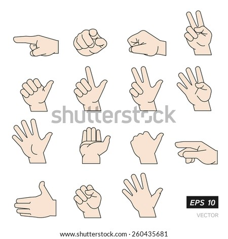 Set of Flat Line Illustrated Hands Isolated on White Background. Vector Illustration. - stock vector