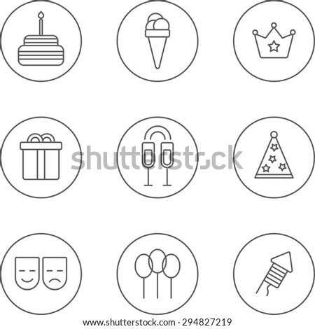 set of flat linear design monochrome icons of birthday topic. There are 9 icons including cake, ice-cream, crown, gift box,glass with champagne,party hat, mask,balloon,firework - stock vector
