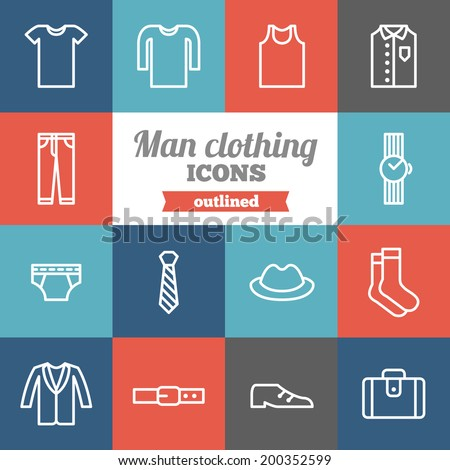Set of flat man clothing icons  - stock vector