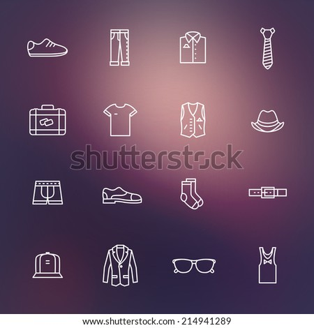 Set of flat man clothing icons. eps10 - stock vector