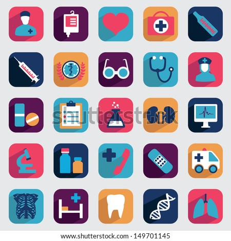 Set of flat medical icons for design - vector icons - stock vector