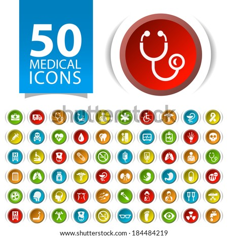 Set of 50 Flat Medical Icons on Circular Buttons. - stock vector