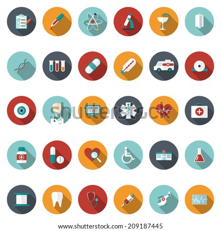 Set of flat Medical icons. Vector illustration - stock vector