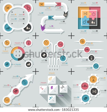 Set of 9 flat minimal infographic templates with arrows, circles, puzzle elements and another geometric shapes. Vector. Can be used for web design and workflow layout. - stock vector