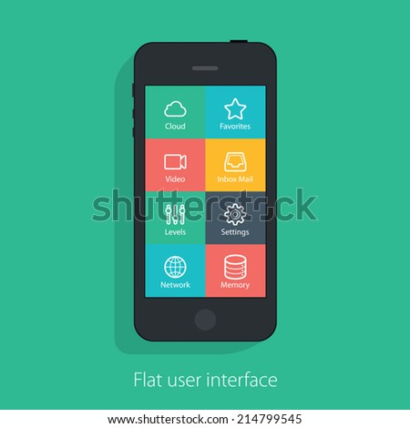 set of flat mobile elements, flat mobile phones and flat design icons for mobile app and web - stock vector