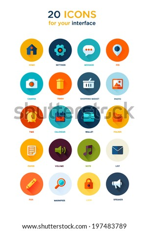 Set of flat modern design icons for your interface and web pages, Responsive web design - stock vector