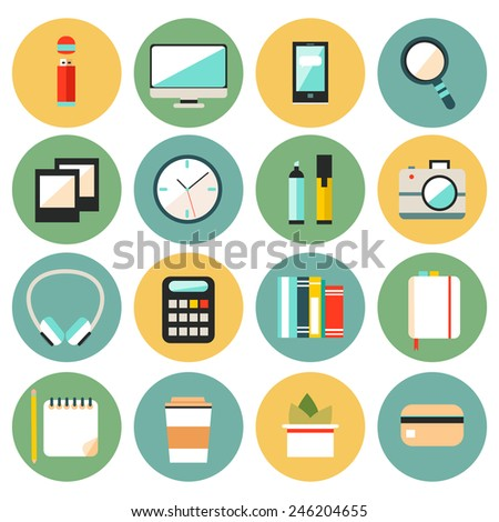 Set of flat modern design vector circle icons of office workspace, workplace, things, equipment, elements, objects, development tools. Various devices. Collection in stylish trendy colors.