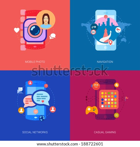 Set of flat modern icons on the topic of mobile apps: mobile photo sharing and selfie, social network and chat, smart phone navigation and maps, casual games.