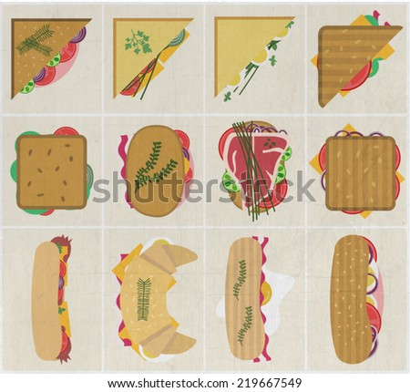 Set of flat modern sandwiches cards. Different types of sandwiches and rolls with vegetables, salama, bacon, steak, eggs, cheese.Subway sandwiches icons for advertising,print material,restaurant menu. - stock vector
