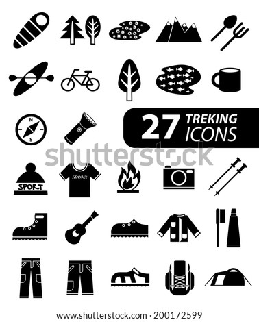 Set of flat monochromatic hiking, trekking and camping icons. Outdoor activity symbols drawn in vector. Tent, sleeping bag, fire, mountain, forest.