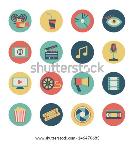 set of flat movie icons - stock vector