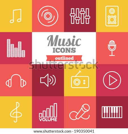 Set of flat music icons  - stock vector