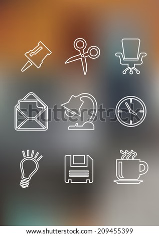Set of flat office icons including a thumb tack, scissors, chair, mail, lamp, clock, light bulb, floppy disk and a cup of tea for web or logo design - stock vector