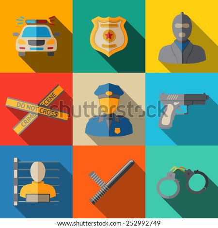 Set of flat police icons - gun, car, crime scene tape, badge, police men, thief, thief in jail, handcuffs, police club. Vector
