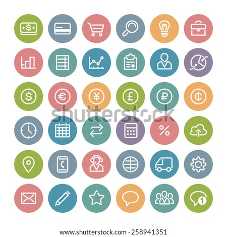 Set of Flat Round Icons for Business Design. Isolated on White Background. Clipping paths included in additional jpg format. - stock vector