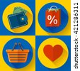 Set of flat shopping icons. Vector illustration - stock vector