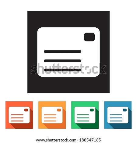 Set of flat simple colored icons (connection, letter, mail, information, correspondence, newsletter, post, inbox), vector illustration - stock vector