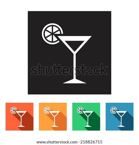 Set of flat simple colored icons (drink, beverage, alcohol, martini, vermouth), vector illustration - stock vector