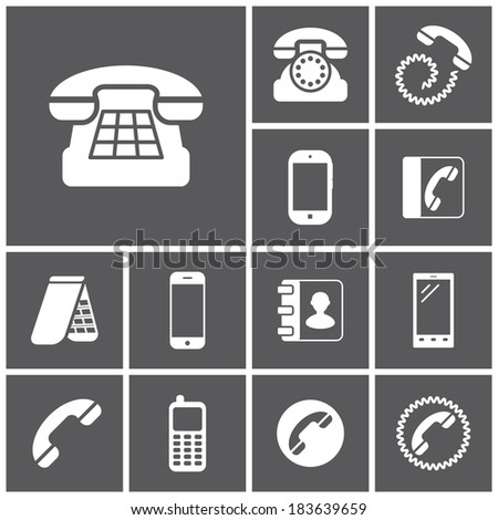 Set of flat simple icons (phone, telephone, communication), vector illustration - stock vector