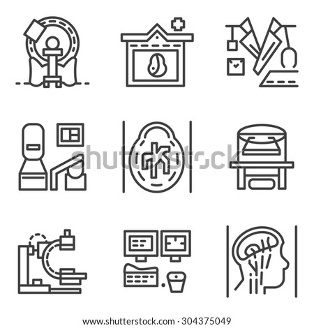 Set of flat simple line vector icons for medical research. MRI, CT scan, MRI equipment, brain imaging and other elements for your website. Element for the logo - stock vector