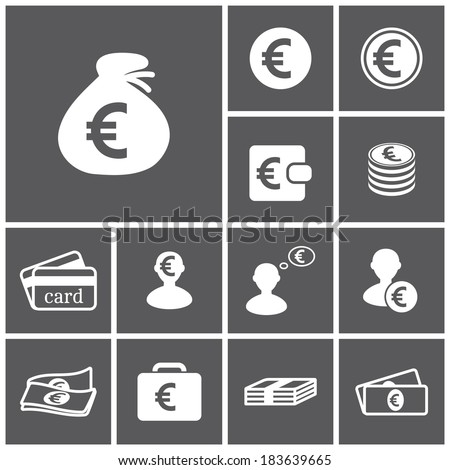 Set of flat simple web icons (euro sign, money, finance, banking), vector illustration - stock vector