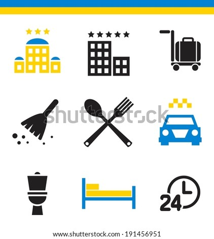 Set of flat simple web icons (hotel, rooming, inn), vector illustration - stock vector