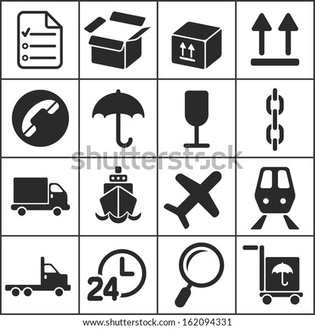 Set of flat simple web icons (logistics, freight, trucking industry, delivery), vector illustration - stock vector