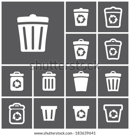 Set of flat simple web icons (recycle bins), vector illustration - stock vector