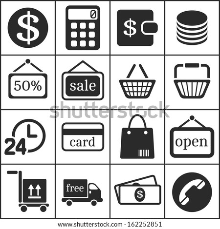 Set of flat simple web icons (shopping), vector illustration - stock vector