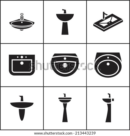 Set of flat simple web icons (sink, wash-basin, washbowl), vector illustration - stock vector