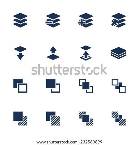 Set of flat square icons with functions for program on white background - stock vector