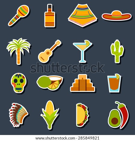 Set of flat stickers on Mexica theme: sombrero, poncho, tequila, coctails, taco, skull, guitar, pyramid, avocado, lemon, chilli pepper, cactus, injun hat, palm. Isolated national mexican objects in - stock vector