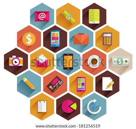 Set of Flat Style Icons. Business, Technology, Mobile Phones and Tablet PC, Infographic and Payments Designs. Long Shadows Web Elements Collection. SEO and Internet Advertising Vector Objects.  - stock vector