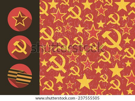 Set of flat style icons of Soviet Union signs seamless pattern. Vector illustration. - stock vector