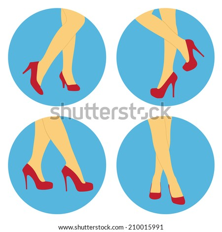 set of flat style icons with women's legs and red shoes - stock vector