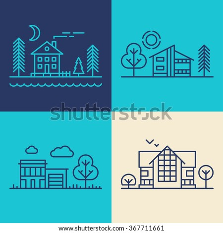 Set of Flat Style Line Art Vector Illustrations for Countryside Houses  - stock vector