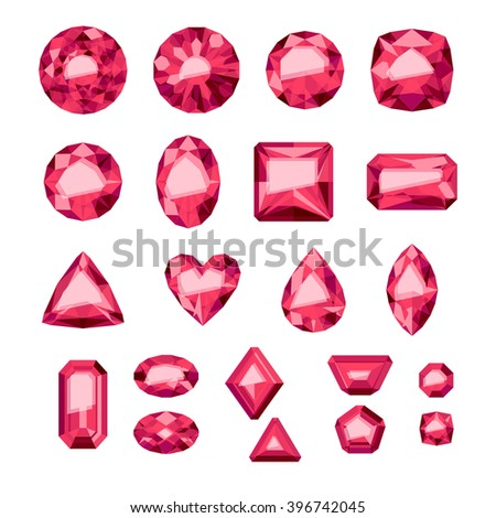 Set of flat style red jewels. Colorful gemstones. Rubies isolated on white background. - stock vector