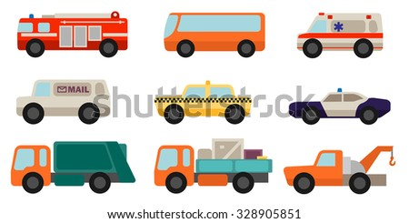 Set of flat style service cars - stock vector