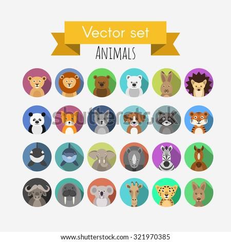 Set of flat style vector avatars of animals  - stock vector
