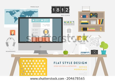 Set of Flat Style Vector Icons. Office Workplace Elements Concept for Business Design. Workflow Items, Office Things, Equipment and Objects. Developer or Designer Workspace - stock vector