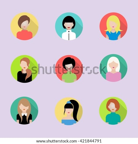 Set of flat symbols of portraits with people. Nine different images of women. Can be used for the websites and forums