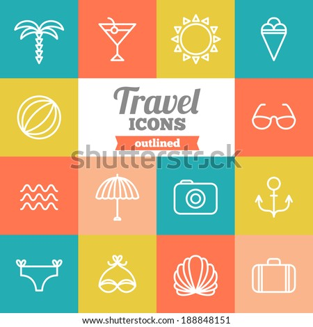 Set of flat travel icons  - stock vector