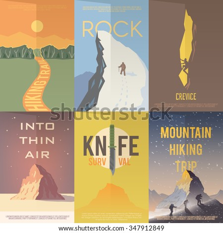 Set of flat vector advertising posters on the theme of Climbing, Trekking, Hiking, Walking. Sports, outdoor recreation, adventures in nature, vacation.Vintage flat design.  - stock vector