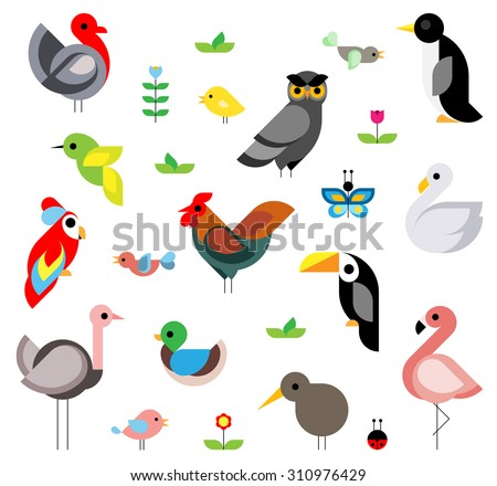 Set of flat vector birds composed of simple geometric shape - stock vector