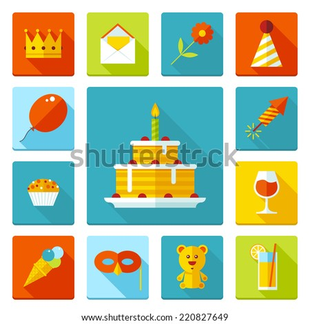 Set of flat vector birthday party icons. Holiday, wedding, jubilee, celebrating of event. - stock vector