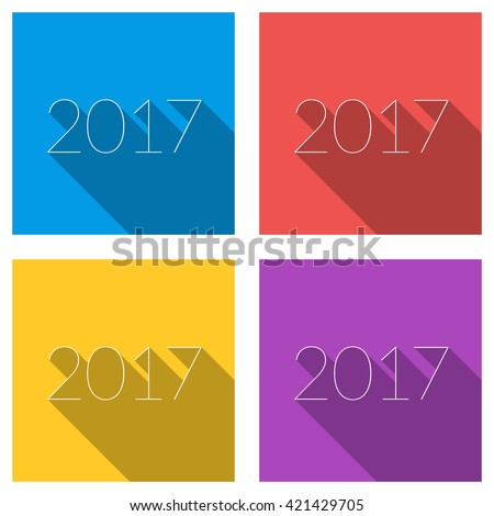 Set of flat vector color illustrations of thin line numbers with long shadow. 2017 year